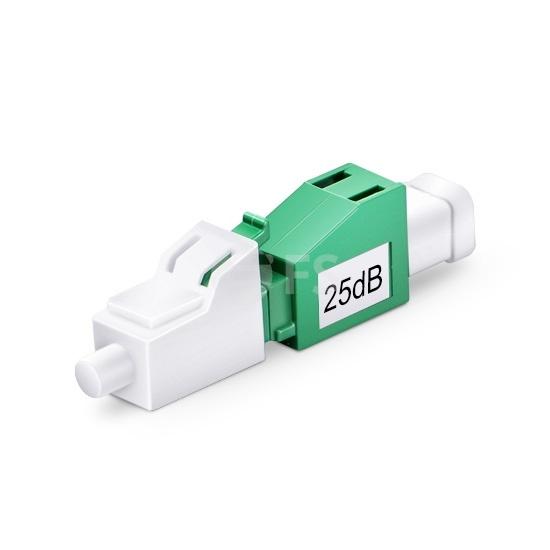 Atenuador de fibra óptica fijado LC/APC monomodo, macho-hembra, 25dB