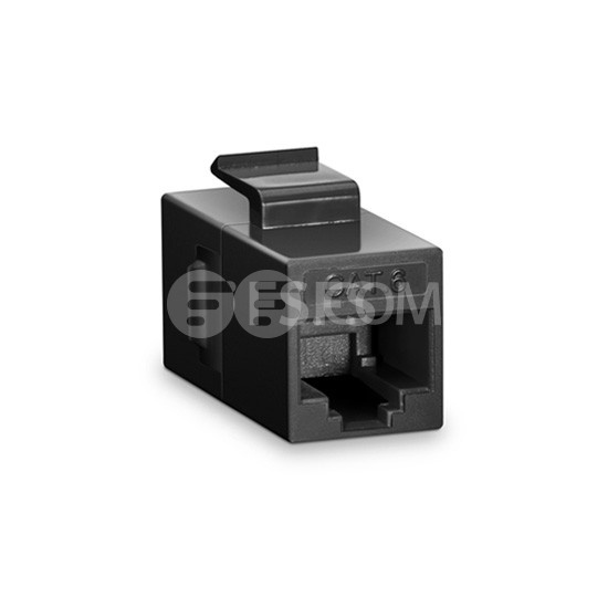 Cat6 Keystone RJ45 Coupler, Unshielded, Female to Female Insert Inline Coupler - Black