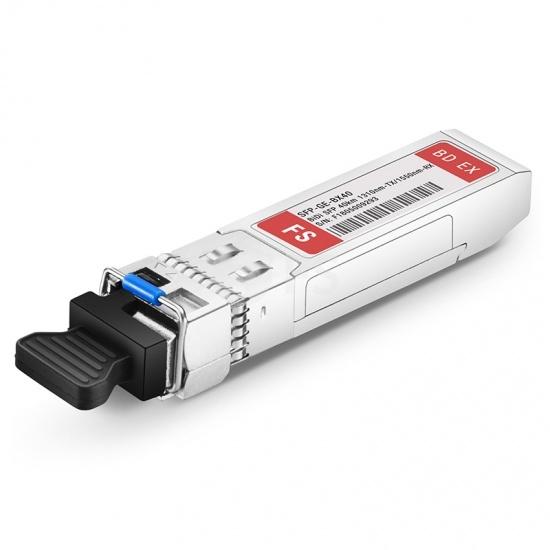 1000BASE-BX BiDi SFPモジュール(1310nm-TX/1550nm-RX 40km DOM LC SMF FSスイッチ用)