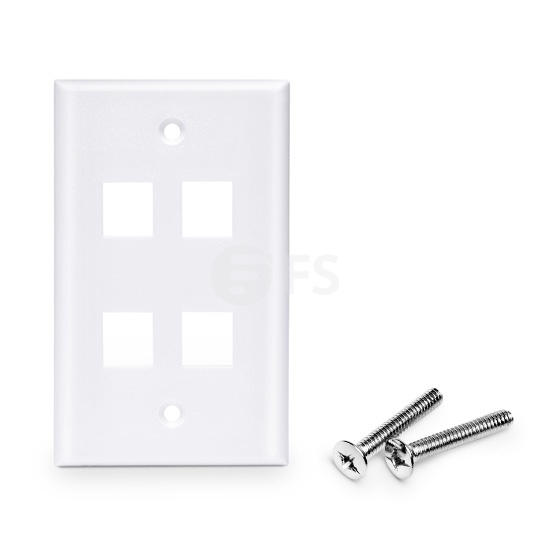 Placa de Pared de Red de 4 Puertos RJ45 Tipo Keystone Single Gang - Tapa Placa Para Caja Pared - Blanca