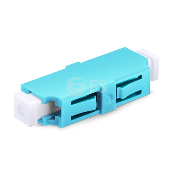 LC/UPC to LC/UPC 10G Simplex Multimode OM3 Plastic Fibre Optic Adapter/Coupler without Flange, Aqua