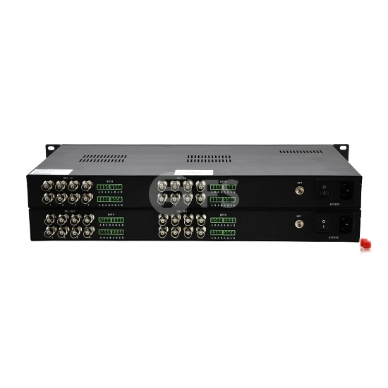 16 Channel Unidirectional HD-SDI over Optical Fiber Transmitter and Receiver Set