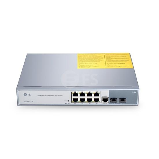 S1250-8T2F Switch administrable PoE+, 8 puertos Gigabit con 2 puertos SFP, 250W