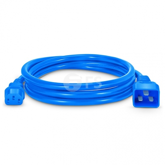 IEC320 C20 to C13 Power Cord, 14AWG, 250V/15A, Blue-6ft (1.8m)