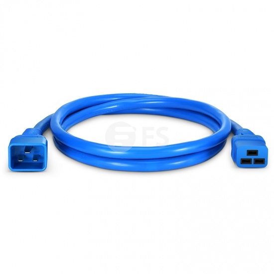 6ft (1.8m) IEC320 C20 to IEC320 C19 12AWG 250V/20A Power Extension Cord, Blue