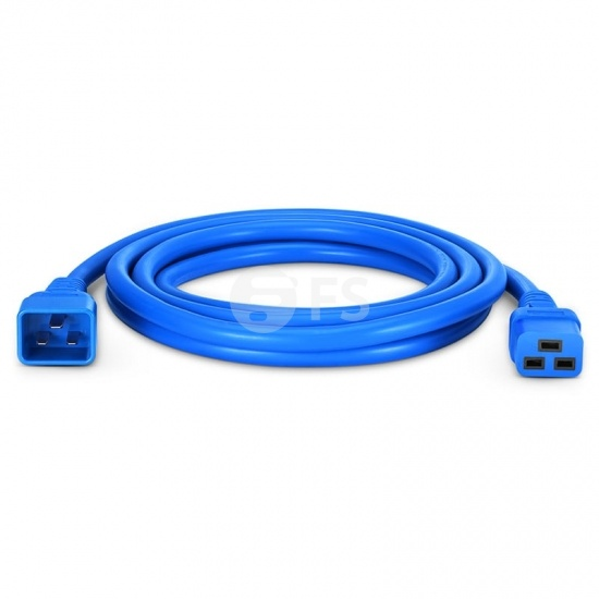10ft (3m) IEC320 C20 to IEC320 C19 12AWG 250V/20A Power Extension Cord, Blue