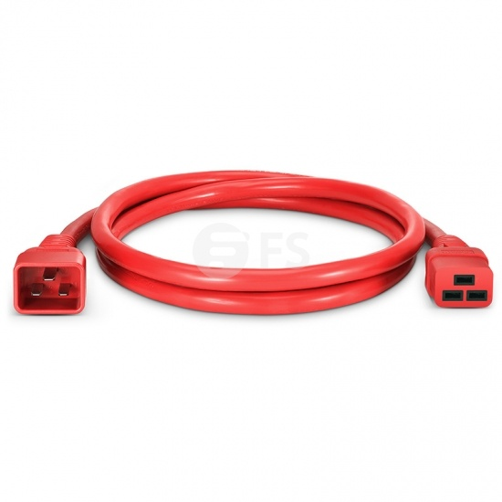 6ft (1.8m) IEC320 C20 to IEC320 C19 12AWG 250V/20A Power Extension Cord, Red