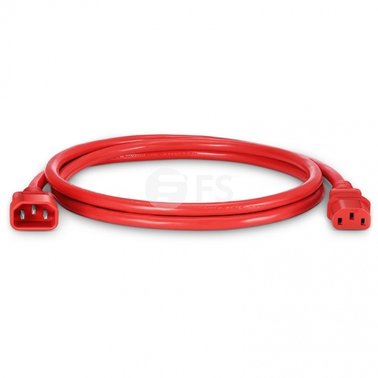 IEC320 C14 to C13 Power Cord, 14AWG, 250V/15A, Red-6ft (1.8m)