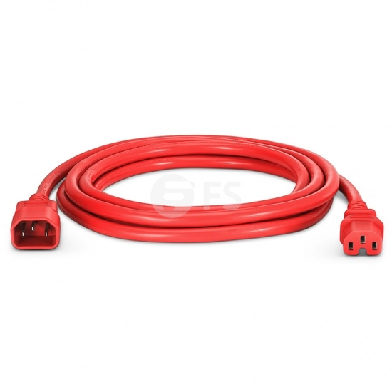 IEC320 C14 to C15 Power Cord, 14AWG, 250V/15A, Red-10ft (3m)