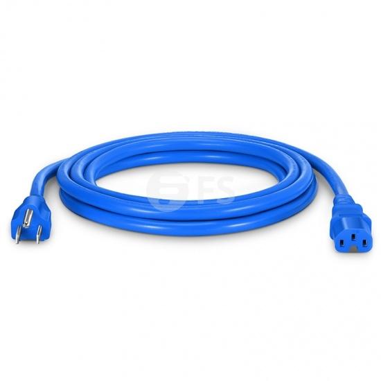 NEMA 5-15P to IEC320 C15 Power Cord, 14AWG, 125V/15A, Blue-10ft (3m)