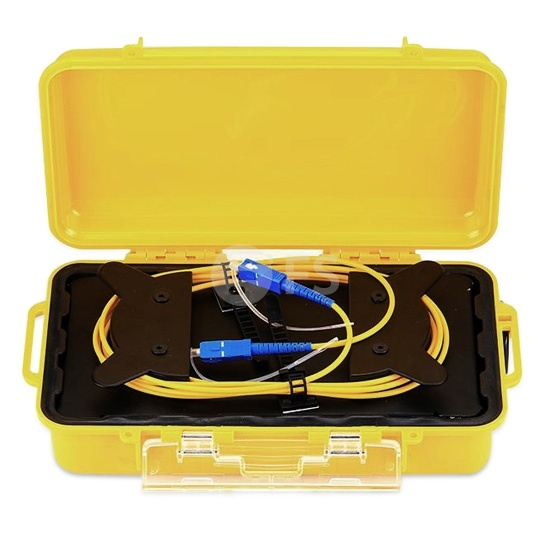2km SC UPC to SC UPC Single Mode Fibre Optic OTDR Launch Cable Box