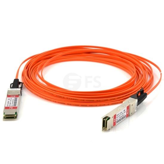 Cable Óptico Activo (AOC) 40G QSFP+ a QSFP+ 30m (98ft) - Compatible con Brocade 40G-QSFP-QSFP-AOC-3001 - Latiguillo QSFP+