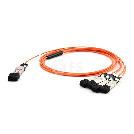 25m (82ft) Extreme Networks 10GB-4-F25-QSFP Compatible 40G QSFP+ to 4x10G SFP+ Breakout Active Optical Cable