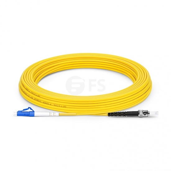 20m (66ft) LC UPC to ST UPC Simplex OS2 Single Mode PVC (OFNR) 2.0mm Fiber Optic Patch Cable