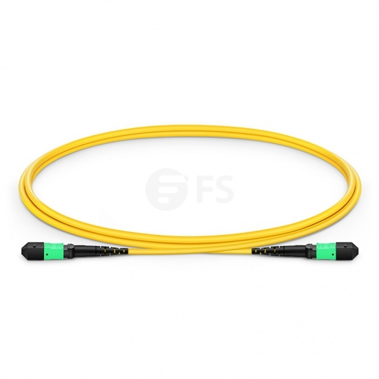 1m (3ft) MTP® Female 12 Fibers Type B LSZH OS2 9/125 Single Mode Trunk Cable, Yellow