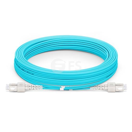15m (49ft) SC UPC to SC UPC Duplex OM4 Multimode Armored PVC (OFNR) 3.0mm Fiber Optic Patch Cable