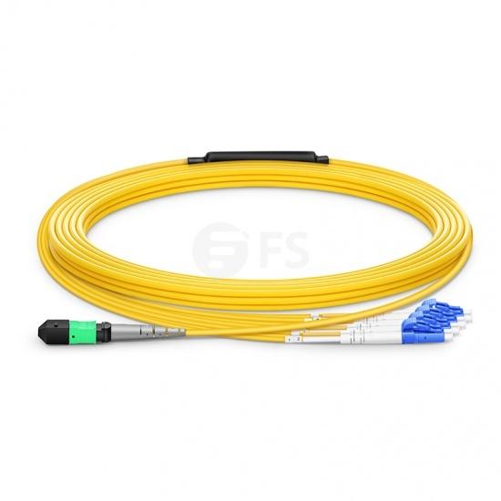 10m (33ft) MTP Femelle vers 4 LC UPC Duplex 8 Fibres OS2 9/125 Câble Breakout Monomode, Type B, Élite, LSZH, Jaune