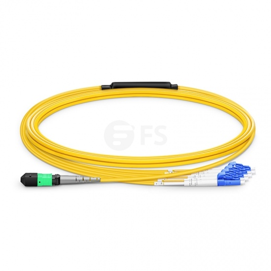 3m (10ft) MTP Femelle vers 4 LC UPC Duplex 8 Fibres Câble Breakout OS2 9/125 Monomode, Type B, Élite, LSZH, Jaune