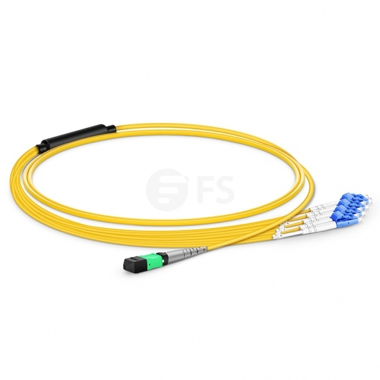 1m 8芯MTP(母)-4*LC/UPC 双工单模OS2分支光纤跳线,极性B,低插损,LSZH
