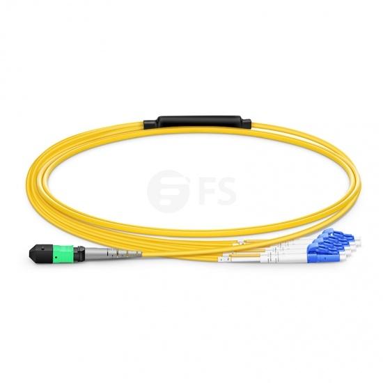 MTP® Trunkkabel, 1m (3ft) MTP® Female auf 4 LC UPC Duplex 8 Fasern, Polarität B, LSZH, OS2 9/125 Singlemode, Elite, Gelb