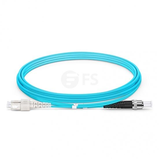 2m (7ft) SC UPC to ST UPC Duplex OM3 Multimode PVC (OFNR) 2.0mm Fiber Optic Patch Cable