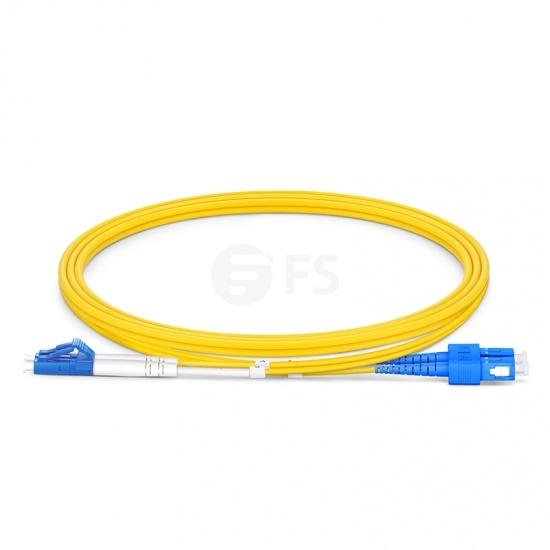 LC-SC UPC Duplex Single Mode Fibre Patch Lead 2.0mm LSZH 1m