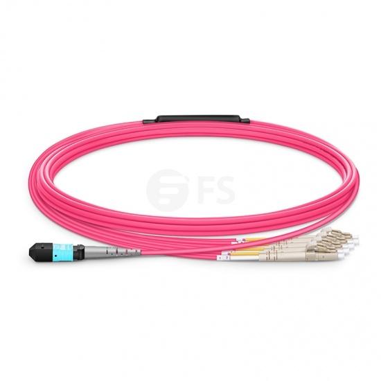 Cable breakout MTP Elite hembra a 4 LC UPC dúplex 8 fibras tipo B, OM4 (OM3) 50/125 multimodo, LSZH, magenta, 5m