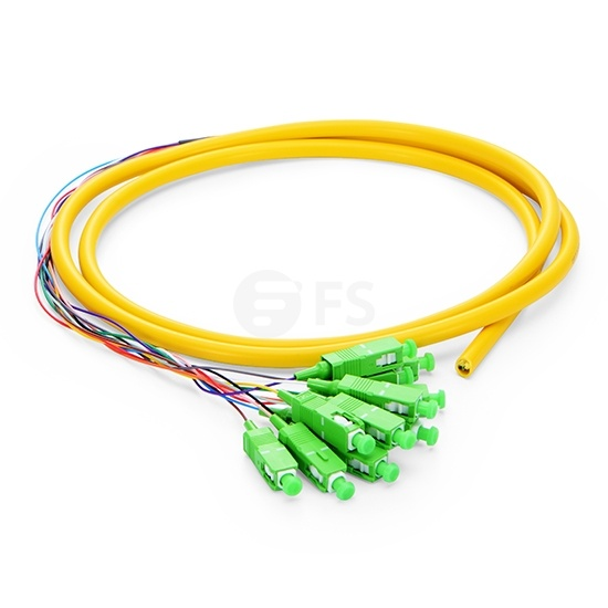 1.5m (5ft) SC APC 12 Fibers OS2 Single Mode Bunch PVC (OFNR) 0.9mm Fiber Optic Pigtail