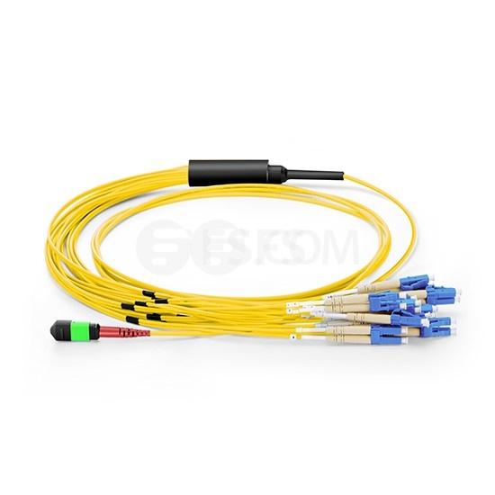 MTP® Breakoutkabel, 3m (10ft) MTP® Buchse auf 12 LC UPC Duplex, 24 Fasern OS2 9/125 Singlemode, Polarität A, Elite, LSZH, Gelb
