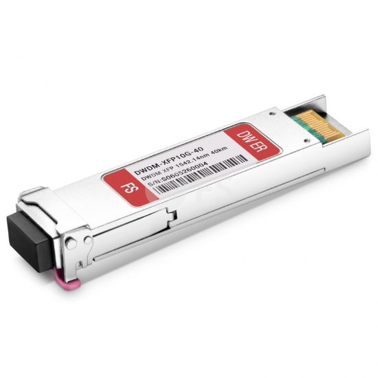 Módulo transceptor compatible con FS switches C44 10G DWDM XFP 100GHz 1542.14nm 40km DOM LC SMF