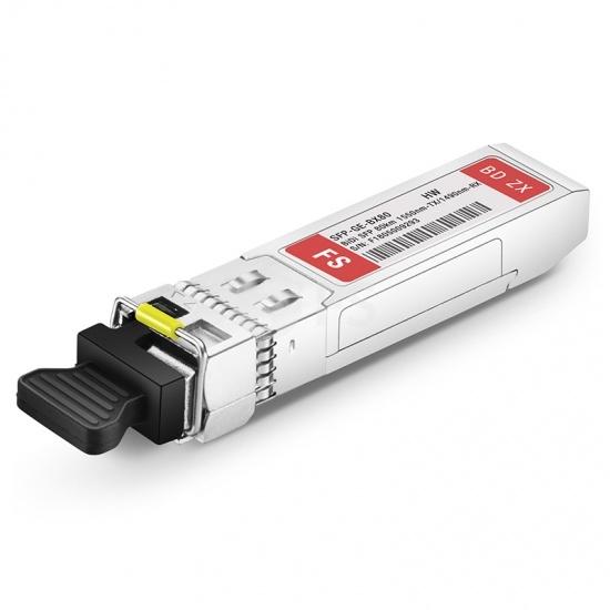 HW BiDi SFP-GE-80-SM1550-D Compatible 1000BASE-BX BiDi SFP 1550nm-TX/1490nm-RX 80km DOM Transceiver Module