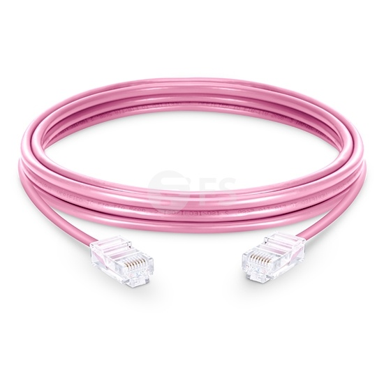 6.6ft (2m) Cat6 Non-booted Unshielded (UTP) PVC Ethernet Network Patch Cable, Pink