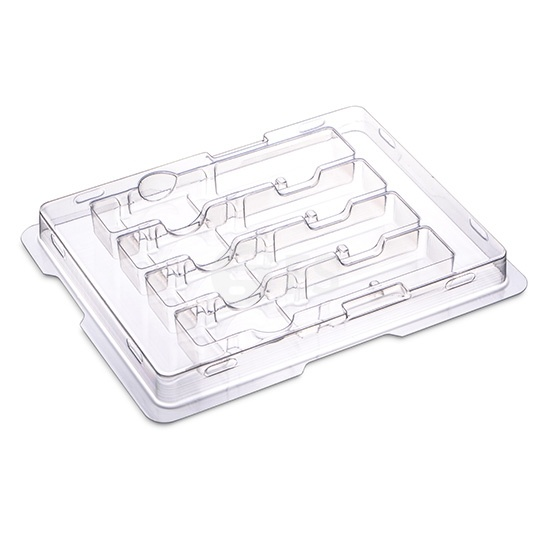 Antistatische Kunststoff-Verpackungsschale mit Klappdeckel für 4 QSFP+/QSFP28/XFP Transceiver