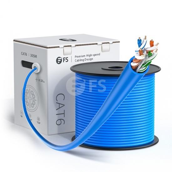1000ft(305m)Cat6 23AWG ソリッド 無酸素銅線 550MHz アンシールドツイストペア(UTP)LANバルクケーブル(UL Listing認証取得 PVC CMR 青色)