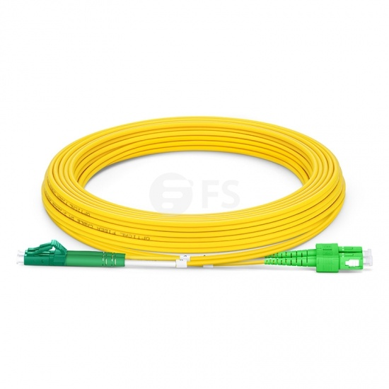 Biegeunempfindliches LWL-Patchkabel, 5m (16ft) LC APC auf SC APC Duplex Stecker, OS2 Singlemode PVC (OFNR) 2,0mm
