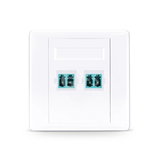 Placa de pared de fibra óptica con 2 puertos de LC dúplex UPC OM3/OM4 multimodo, recto
