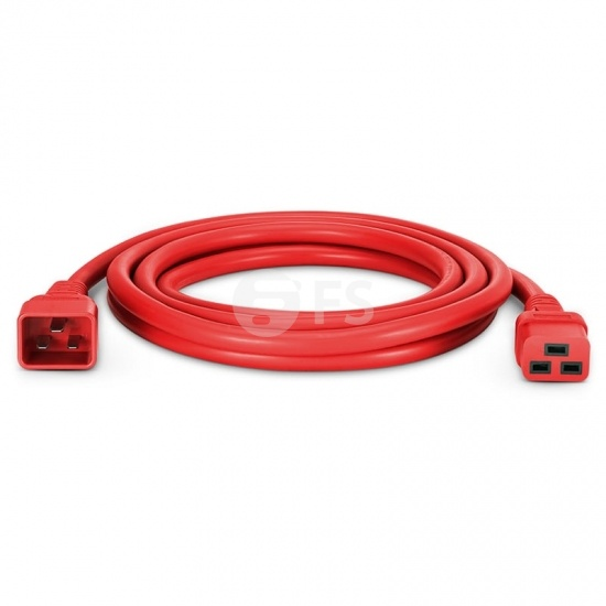 10ft (3m) IEC320 C20 to IEC320 C19 12AWG 250V/20A Power Extension Cord, Red