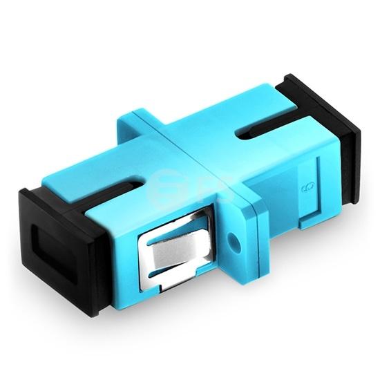 SC/UPC to SC/UPC 10G Simplex OM3 Multimode Plastic Fiber Optic Adapter/Mating Sleeve with Flange, Aqua