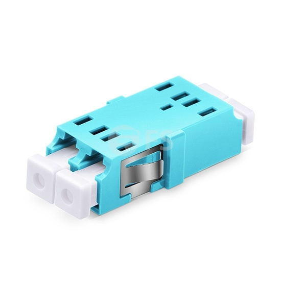 LC/UPC to LC/UPC 10G Duplex OM3 Multimode SC Footprint Plastic Fiber Optic Adapter/Mating Sleeve without Flange, Aqua