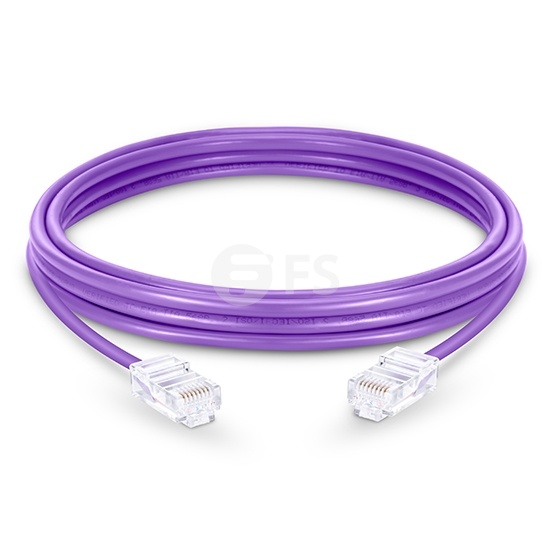 10ft(3m) Cat5e 保護カバーなし シールドなし(UTP)イーサネットネットワーク用LANパッチケーブル(PVC、紫色)