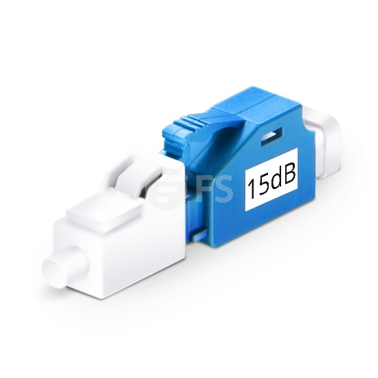 LC/UPC Single Mode Fixed Fibre Optic Attenuator, Male-Female, 15dB