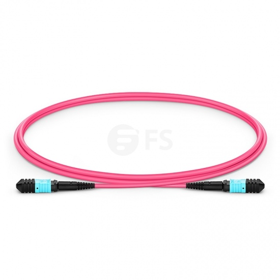 1m (3ft) Senko MPO Female 12 Fibres Type B LSZH OM4 (OM3) 50/125 Multimode Elite Trunk Cable, Magenta