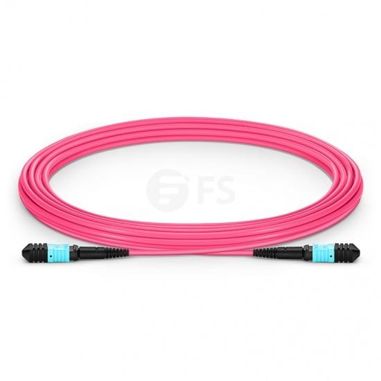 5m (16ft) Senko MPO Female 12 Fibers Type B LSZH OM4 (OM3) 50/125 Multimode Elite Trunk Cable, Magenta