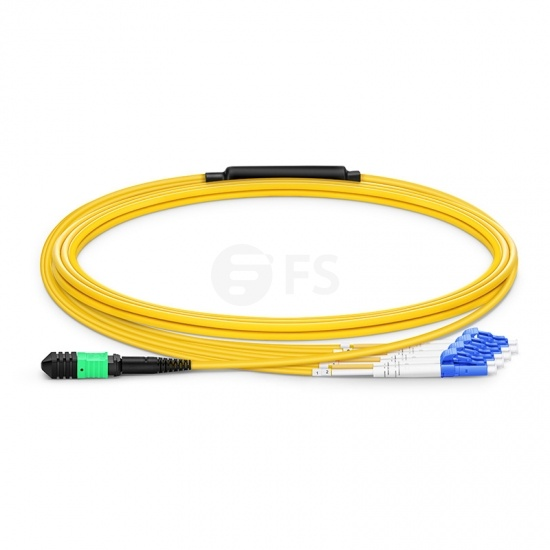 3m (10ft) Senko MPO Femelle vers 4 LC UPC Duplex 8 Fibres OS2 9/125 Câble Breakout Monomode, Type B, Élite, LSZH, Jaune