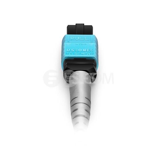 1m 8芯 MTP(母)-4*LC/UPC 双工万兆多模OM4分支光纤跳线,极性B, 低插损,Plenum(OFNP阻燃)