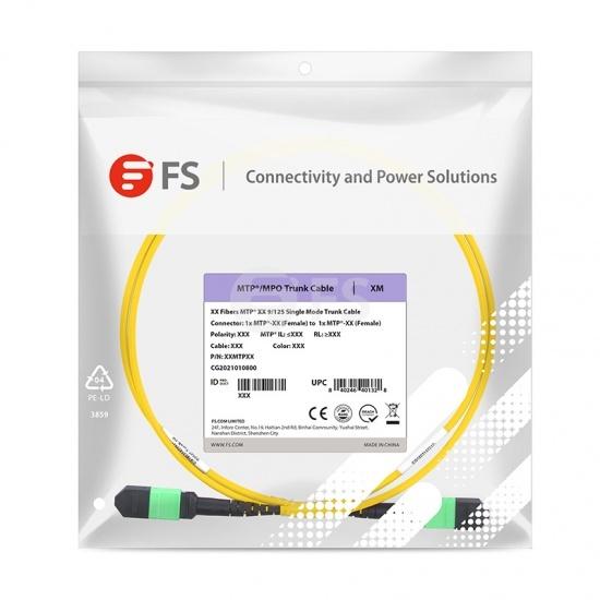 5m 12芯 MTP®(母)单模OS2主干光纤跳线,极性A,低插损,Plenum (OFNP阻燃)