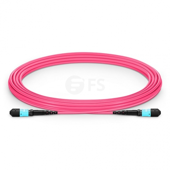 12 Fibres MTP to MTP Female Plenum (OFNP) OM4 (OM3) Multimode Elite Fibre Trunk Cable, Type A, 5m