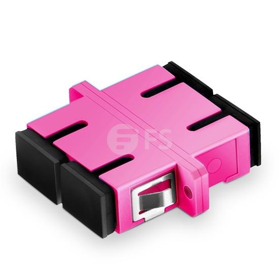 Adaptateur à Fibre Optique/Manchon d'Accouplement Plastique SC/UPC vers SC/UPC 10G Duplex OM4 Multimode avec Bride, Violet