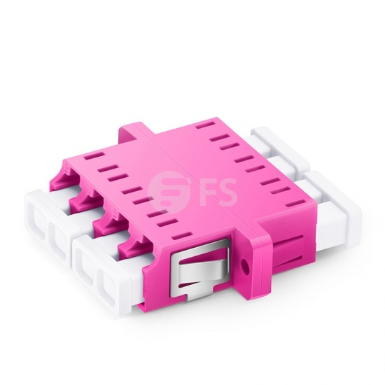 LC/UPC to LC/UPC 10G Quad OM4 Multimode Plastic Fiber Adapter/Coupler with Flange, Violet