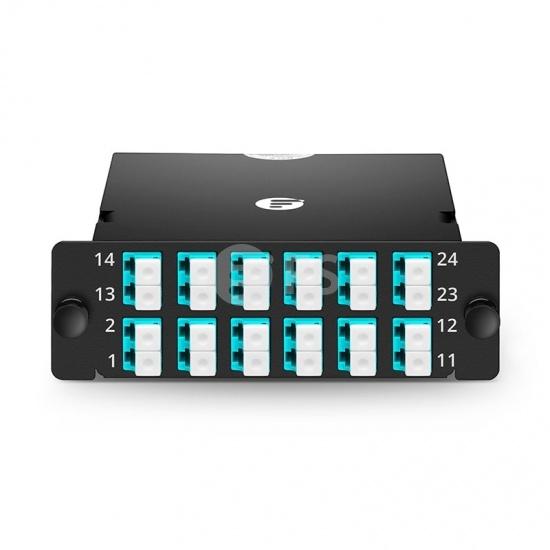 FHD MTP® Kassette, 2x MTP®-12 auf 12x LC Duplex, Polarität AF, 24 Fasern OM4 Multimode